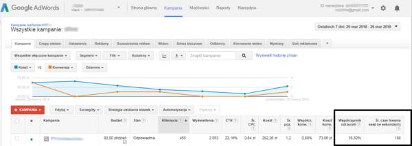 dane analytics w adwords