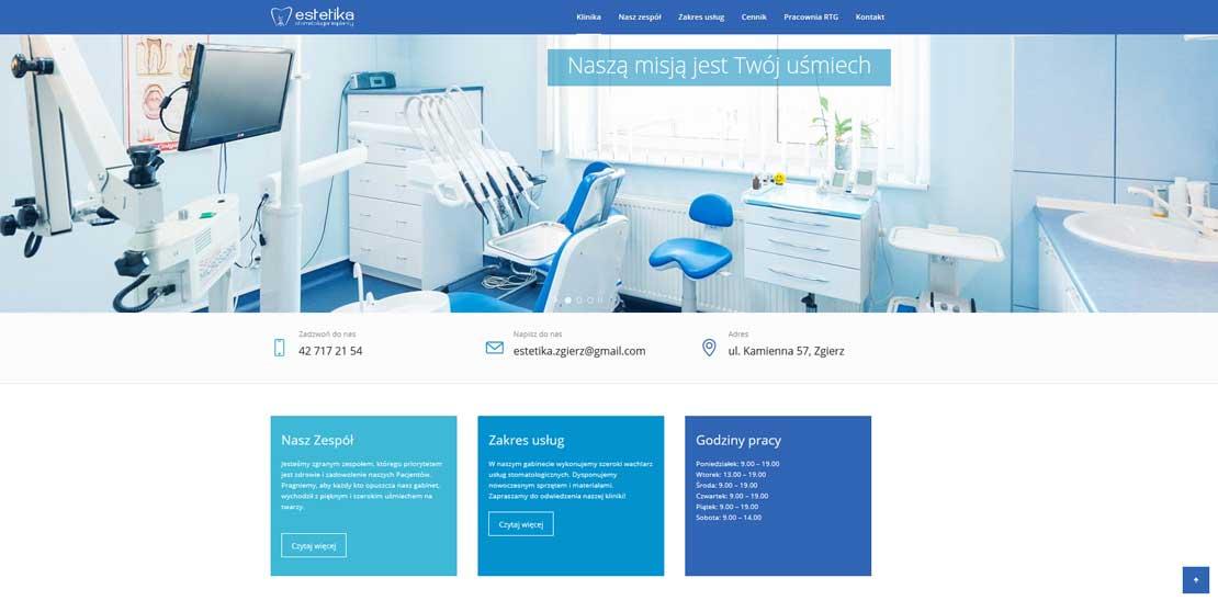 Klinika stomatologiczna Estetika - strona internetowa
