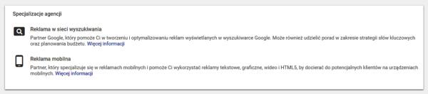specjalizacje agencji google partner